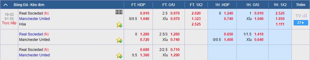 Tỷ lệ cược Real Sociedad vs MU ở nhà cái KU