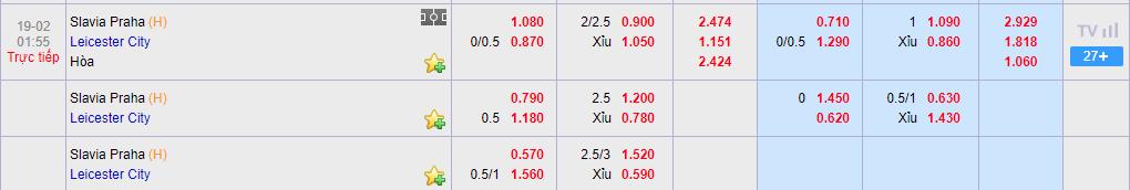 Tỷ lệ cược Slavia Praha vs Leicester ở nhà cái KU